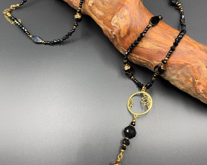 Handmade long beaded necklace made of toho beads and Bohemian glass beads.
