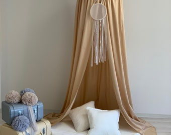 Beige Canopy 50 cm, Creamy Nursery Baldachin, Cotton Bed Canopy, Hanging  Play Tent, Nook Baldachin, Bed Hanging Canopy