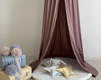 Brown Canopy 50 cm, Chocolate Nursery Baldachin, Cotton Bed Canopy, Hanging  Play Tent, Nook Baldachin, Bed Hanging Canopy