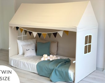 Playhouse Canopy, Canopy Bed, Naturel Canvas Playhouse, Montessori House Bed, Kids Twin Size Bed Canopy, Twin Size Bedding, KidsTent Canopy