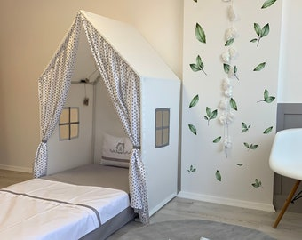 Little Stars Play House Canopy Bed Twin Size,  Montessori House Bed, Canvas Teepee, Playhouse tent, Cotton Canopy Bed, Bed Tent, Kids Canopy