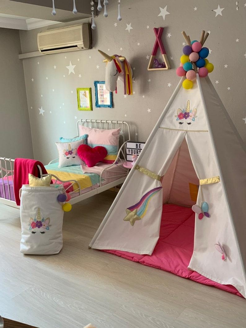 Einhorn Tipi, Regenbogen Kinder Tipi, Indoor Zelt, Einhorn Wigwam,  Baumwolle Leinwand Tipi, Kinder spielen Tipi, Zelt, Kinderzimmer Geschenk  für ...