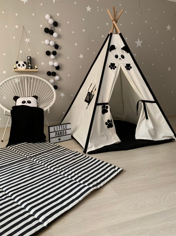 Panda in Teepee Pillow, Boy Nursery