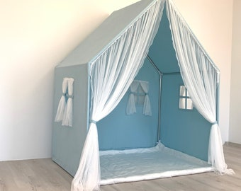 Blue Canvas Playhouse, Montessori House Bed, Boho  Canvas Teepee, Playhouse Tent, Cotton Play House, Montessori Bed, Small Play Cottage
