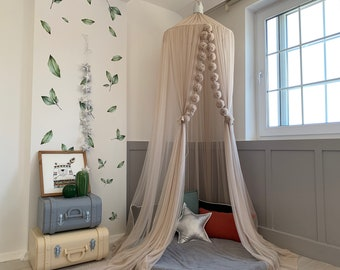 Dusty Powder Canopy with 14 m Tulle, Beige Crib Canopy, Bohemian Canopy, Canopy Curtains, Bed Canopy, Powder Canoy, Canopy Bed, Kids Canopy