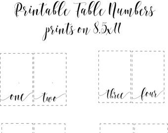 Printable Wedding Table Numbers/Table Numbers/ Reception Decor