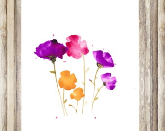 Hand Painted Watercolor Wildflower Print for gallery wall, desk decor, office art, bookshelf styling and more