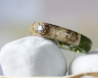 062a7c18b REAL FERN Engagement resin ring Swarovski crystal ring Birch bark ring Mens  wood resin ring Green ring Rustic ring Forest Jewelry Gift women