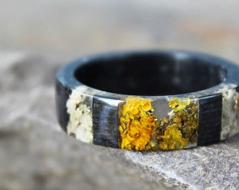 Black Wood Mens ring REAL Moss resin ring Nature resin ring Boho ring Eco Friendly Forest Jewelry Gifts for boyfriend