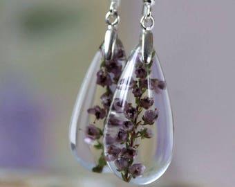 Pink sterling earrings Heather resin earrings Sterling silver earrings Lucite Real flower earrings Heather flower jewelry Wedding jewelry