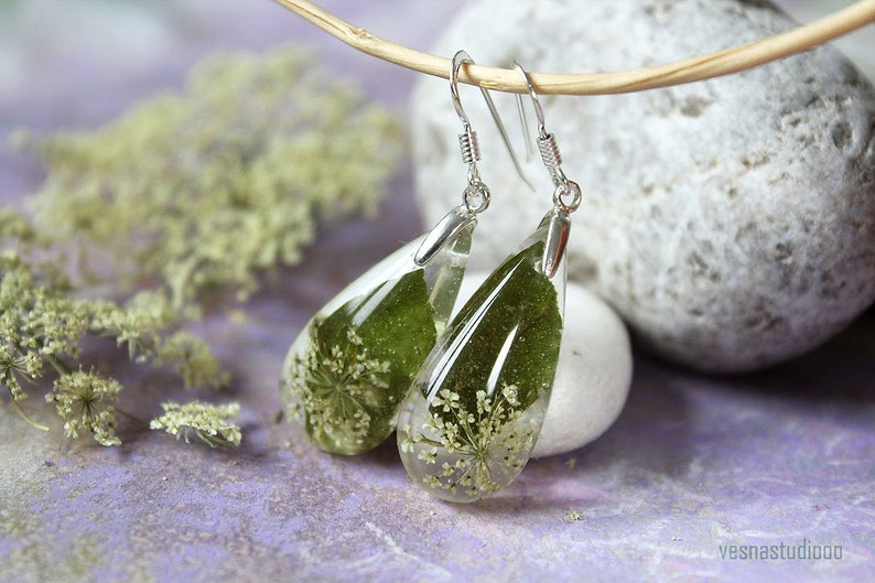 Real flower earrings Queen Anne/'s lace resin earrings Sterling Silver earrings Drop earrings Resin Jewelry Birthday Gift Mom gift