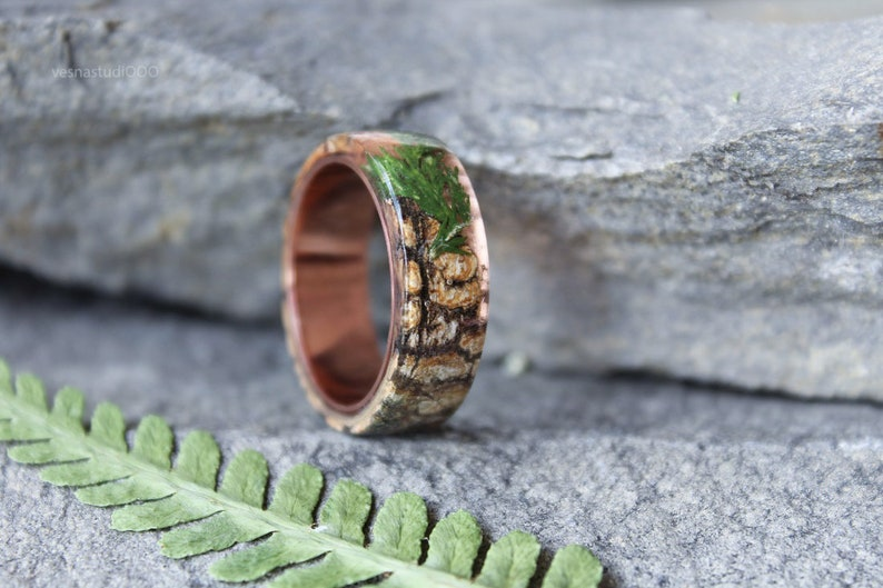 Real Juniper resin ring Birch bark Mens ring Wood resin ring Nature resin ring Boho ring Rustic ring Eco Friendly Green Forest Jewelry