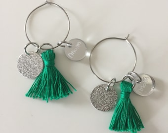 Circle Earrings with Mom and Nappa logo and tag