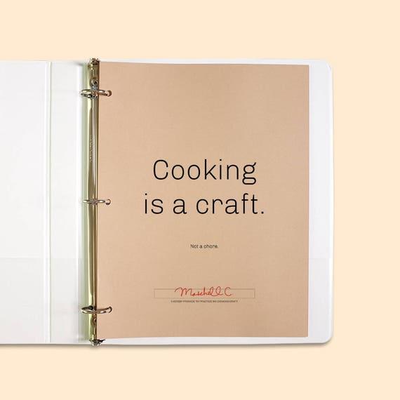 Kochen ist ein Handwerk editierbare Rezept Vorlage   Etsy
