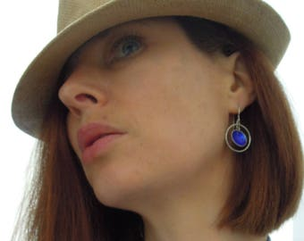 Sterling Silver electric blue enameled earrings, with textured suspended circle in hoop, pendant drop pieced earrings.