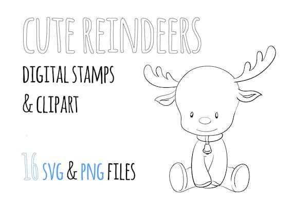 Rennes Mignons Timbres Numériques Noël Digi Stamps Renne Clipart Noir Et Blanc