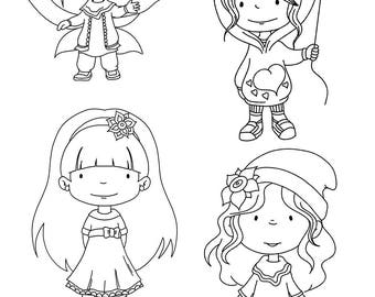 Digital stamps. Set of 4 cute, digital stamps. Black & white images to colour. Cute digi stamps, cute girls. Black and white clipart.