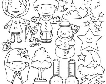 Cute Weather digital stamps and clipart: Weather clipart set2 , digital download, digital stamp, printable, clipart, printable