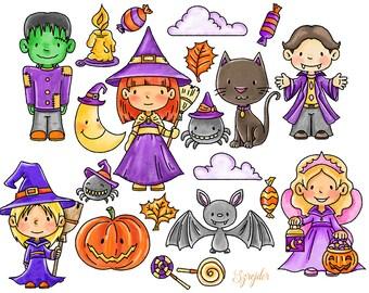 Halloween clipart, autumn clipart, fall clipart, commercial use, digital clipart, Digital illustrations, Digital print,