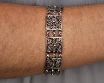 Old european silver bracelet - Silver filigree bracelet - Vintage 800 silver bracelet - Silver flower bracelet