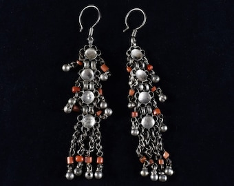 Ethnic silver and coral earrings
