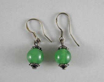 FREE SHIPPING - Green jade earrings - Natural jade beads - Jade jewelry