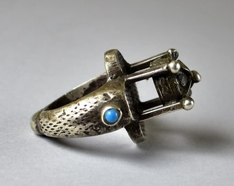 Old heavy silver ring in mosque shape - Minaret ring - Silver and turquoise ring