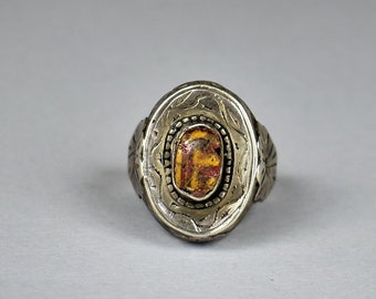 Old silver ring with ancient glass - Ethnic ring - Uzbek ring
