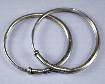 Antique silver hoop earrings - Tribal silver - Afghan ethnic earrings