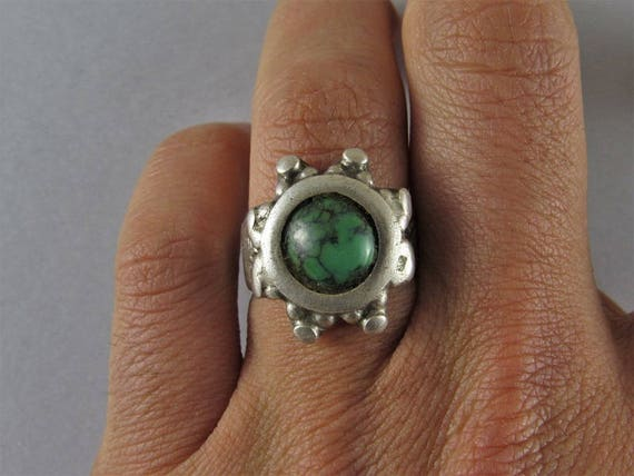Antique indian silver ring - Turquoise ring - Anti