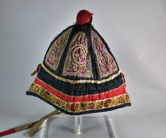 Antique mandarin silk hat - Hand embroidery hat - image 5