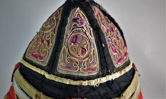 Antique mandarin silk hat - Hand embroidery hat - image 3