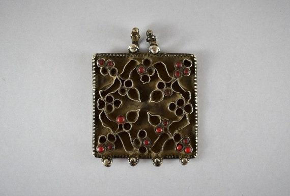 Antique fine indian silver pendant - Flower pendan