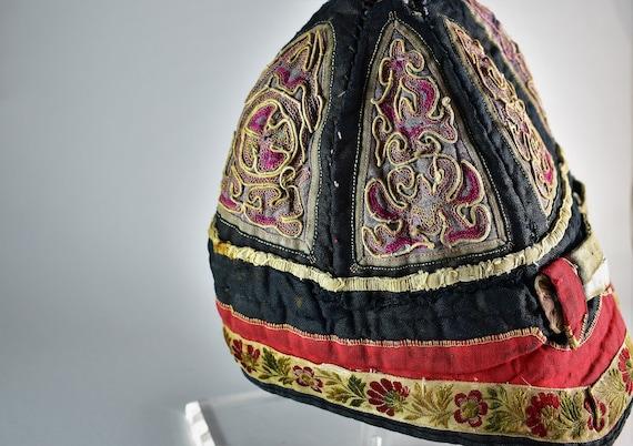 Antique mandarin silk hat - Hand embroidery hat - image 8