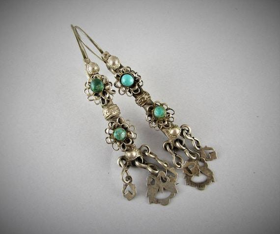 Antique ethnic silver earrings - Punjabi jewelry -