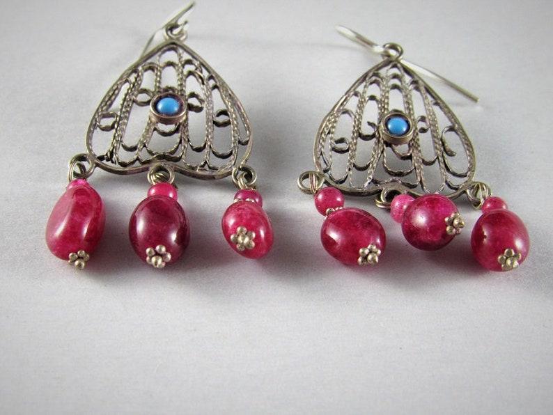silver filigree turquoise and ruby earrings Old Uzbek silver earrings