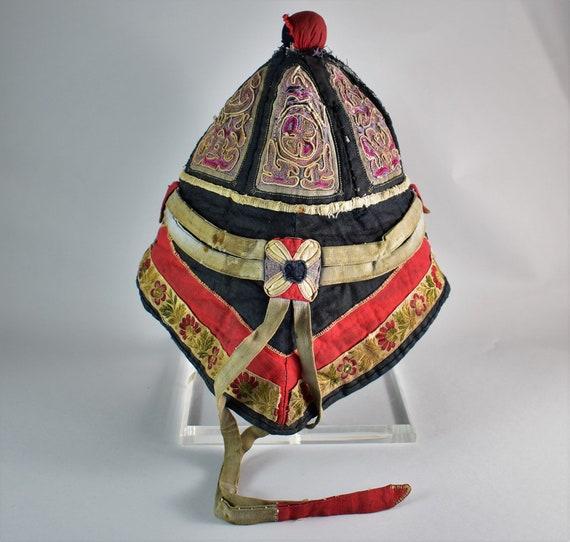 Antique mandarin silk hat - Hand embroidery hat - image 2