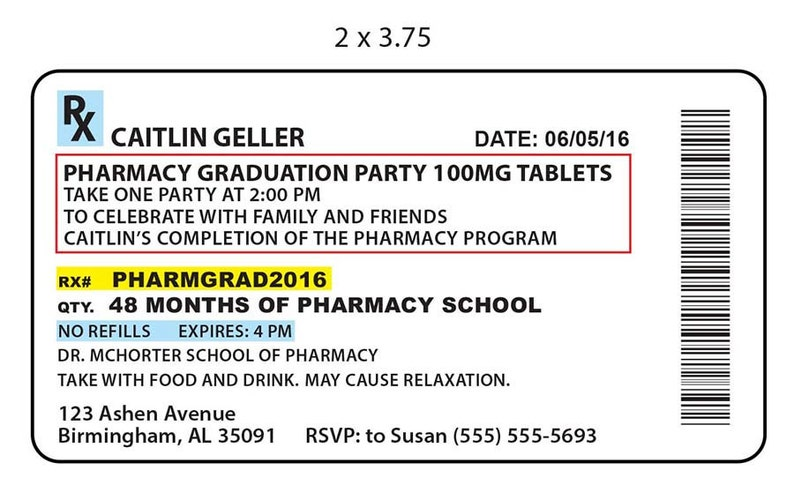 Digital Rx Pharmacy Invitation Label Or Etsy Graduation Party