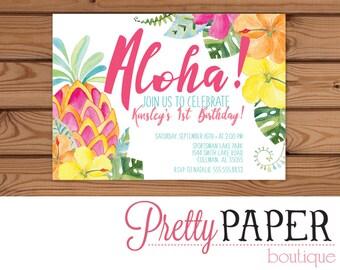 Hawaiian Tropical Birthday Invitation - Digital or Printed