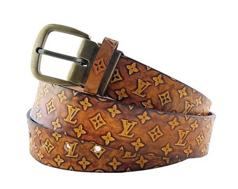8ac91490ad7d Gold Brown Hand dyed Genuine Leather Belt