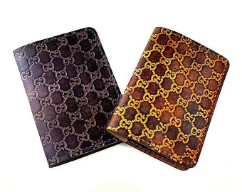 e16e5b85176436 Hand-tooled Hand-dyed Genuine Leather Passport Wallet, Leather Passport  Holder, Passport Case Cover, Gucci inspired Pattern Passport Wallet