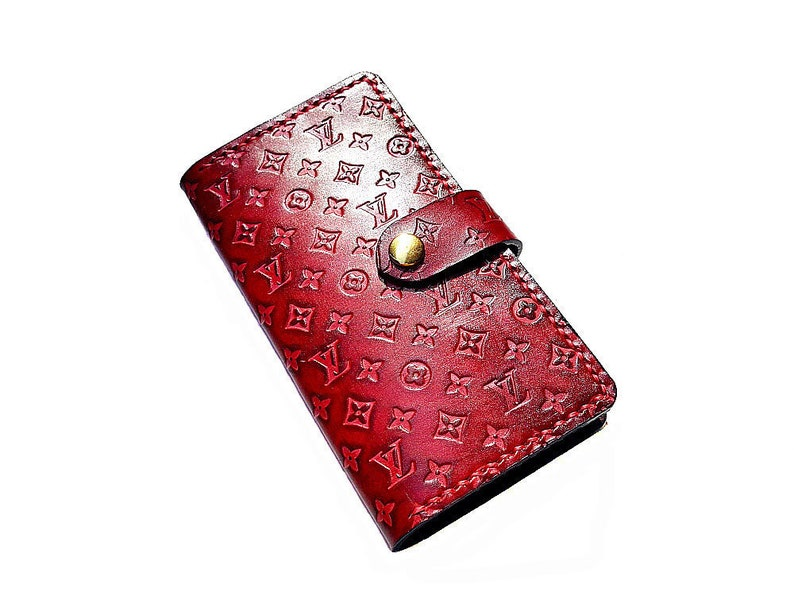 a4eee566e5cb Red Louis Vuitton LV Pattern Genuine Leather iPhone 7 Plus 8