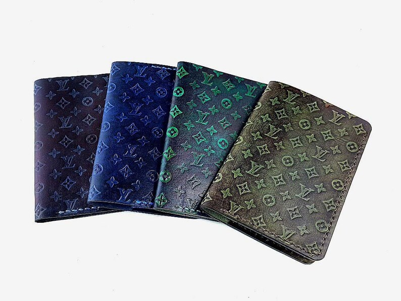 d20b45667549 Louis Vuitton LV Pattern Leather Passport Wallet Blue Leather