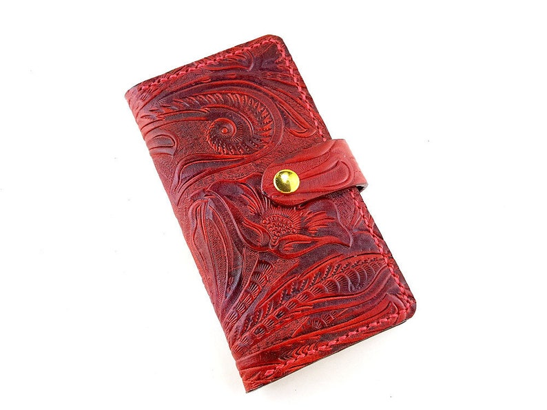 461385c4831f Red iPhone X XS Max Genuine Leather Case Wallet Wristlet