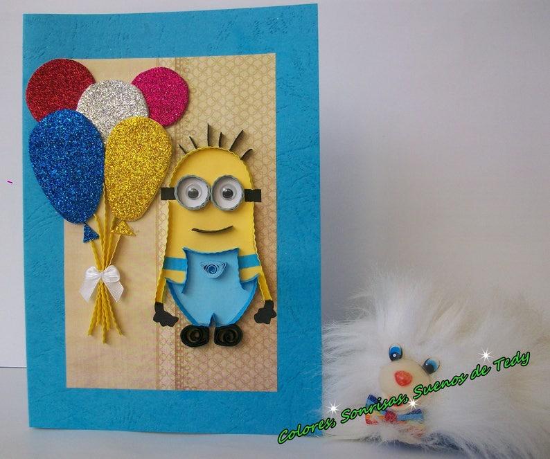 Minion Children Birthday Card Handmade