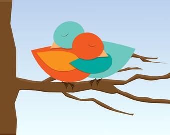 Hug ME - Two birds in hug - illustration of love - digital download