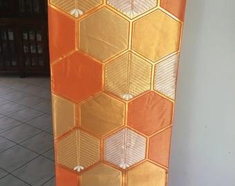 Orange silk obi