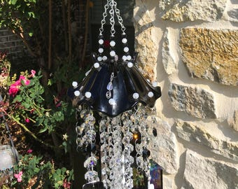 EBONY and IVORY glass wind chime, great gift for anyone,hand cut stained glass, glass beads,crystals, crystal drops, glass Windchime,