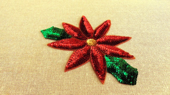 SEQUIN CHRISTMAS POINSETTIA IRON ON PATCH