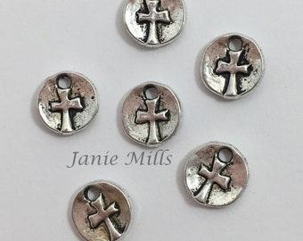 Cross Charm pewter package of 6